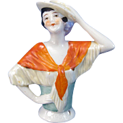 Antique Half Doll Lady with Skimmer Hat and Orange Shawl