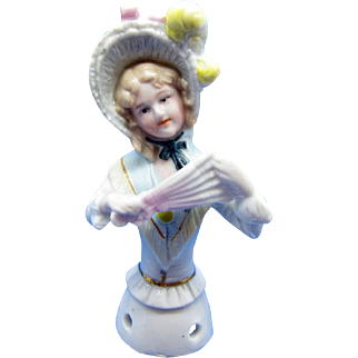 Antique Half Doll Collection Karl Schneider Decorated Bonnet And Fan Pin Cushion
