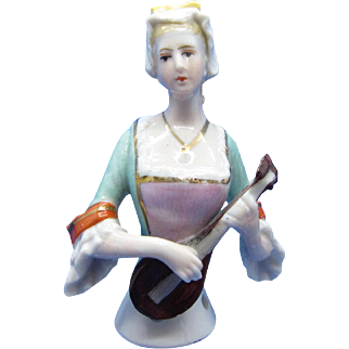 Antique Half Doll Collection Pretty Young Woman Playing a Mandolin Pin Cushion