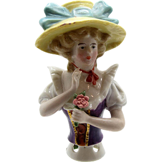 Antique Half Doll LARGE BRIMMED HAT Pin Cushion Doll