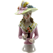 Antique Half Doll Large Brimmed Hat Pin Cushion Doll with Binoculars