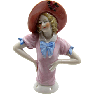 Antique Half Doll LARGE BRIMMED HAT with Pink & Blue, Pin Cushion