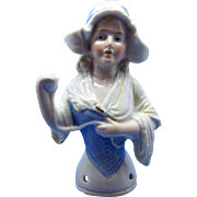 Antique Half Doll Large Dutch Girl Holding Ball Of Yarn, Karl Schneider