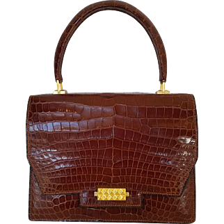 "Very Rare HERMES Sac ""Diamant"" Brown Crocodile Handbag"
