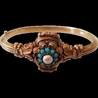 14 Karat Gold Cultured Pearl Turquoise Cabochon Bangle Bracelet