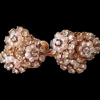 Miriam Haskell Three Flowers Ear-clips