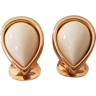 Christian Dior Gold Tone White Cabochon Earclips