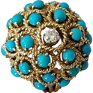 Turquoise Cabochon Bombe Cocktail Ring