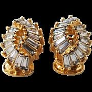 Christian Dior Crystal Clear Rhinestones Earclip