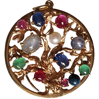 14 Karat Gold Multi GemStones Pendant