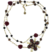 Chanel Multi Color Stone Imitation-Pearl Long Necklace