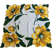 Yellow and Green Floral Handkerchief large