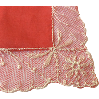Red Lace Trimmed Handkerchief