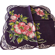 Purple Vintage Handkerchief in Pink Floral with Scallop Edge