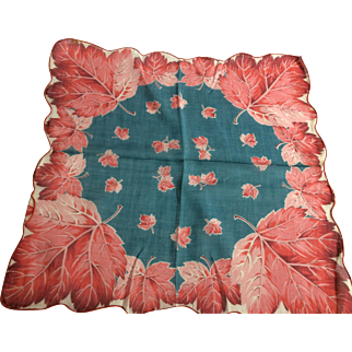 Blue and Pink Leaf Handkerchief