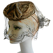 Tan and Brown Feather Hat with Elegant Veil by Gage, of Chicago