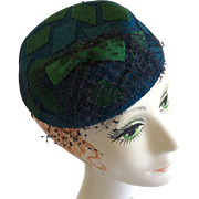 Blue Hat with Veil by Chanda 1960s from Marshall Field and Co in Chicago