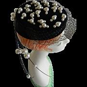 Raymond Hudd Black Velvet Pillbox Hat with White Beads and Black Net Veil from Chicago
