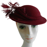 Adolfo II Burgundy Red Felt Boater Hat with Feathers likely 1980s.