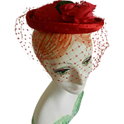 Lemington Red Satin with Rose Cocktail Hat with Veil from Marshall Fields