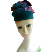Teal Felt Hat with Silk Turban-like Crown by Holly Queen of Hearts Hatter