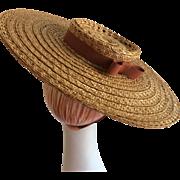 New York Creations Wide Brim Tilt Straw Hat 1940s - Red Tag Sale Item