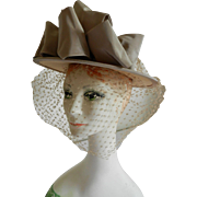 Straw Boater Hat with Ribbon and Veil by Hats by Sue