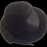 Black Fedora 1940s Lady Baltimore Felt Hat