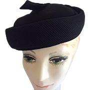 Black Ribbed Fabric Hat by Chic Chicagoan