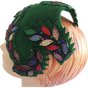 1950s Beaded Green Felt Cocktail Hat by Dorothy Rutz