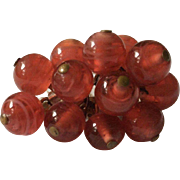 Translucent Red Art Glass Bead Pin