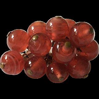 Translucent Red Art Glass Bead Pin