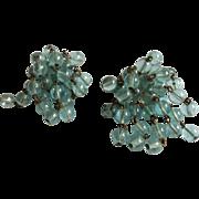 Aqua blue Glass Bead Dangling Earrings Clip