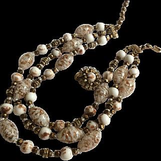Triple Strand Art Glass Bead Necklace Set with Rhinestones