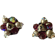 HOBE Crystal and Iridescent Bead with Silvertone Beads Earrings Clip