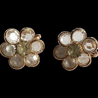 Clear Flower Goldtone Earrings