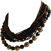 Multi Strand Vintage Black and Brown Bead Necklace