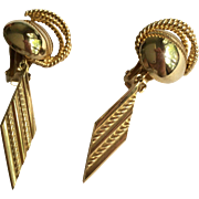 HOBE Earrings in Goldtone with Dangling Accent Clip