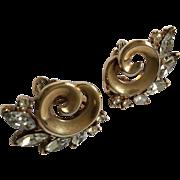 Trifari Goldtone with Rhinestone Earrings Clip