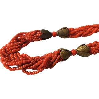 Red-Orange Bead Necklace.