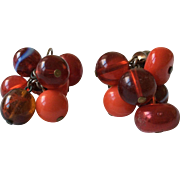 Vogue Earrings in Red, Cranberry and Blue Stripe Bead Clip