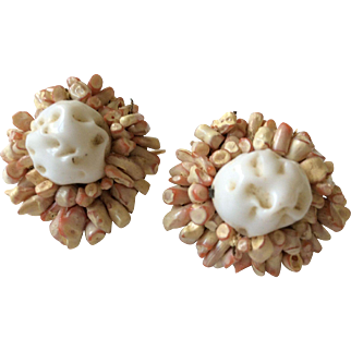 Vogue White and Tan Earrings Clip