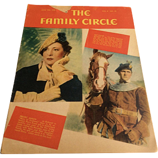 Family Circle Magazine 6-19-1936 Ads from Cigarettes, Kraft, plus more Articles on Lilly Dache and Frederic March
