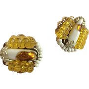 HOBE Earrings of White, Yellow, and Goldtone Clip