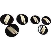 Two sets of 3 Bakelite Deco Buttons in Black and Cream