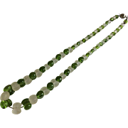 Green and Frosted Glass Bead Necklace
