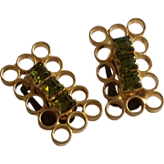 Austrian Earrings in Goldtone with Green Stones Clipon