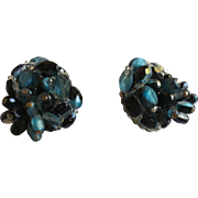 Blue and Black Bead Earrings Clip