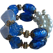 Blue Beads, Simulated Pearls, and Rhinestone Bracelet