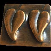 Copper Fur or Dress Clip Leaf Pattern